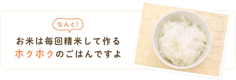 なんとお米は毎回精米して作るホクホクのごはんですよ